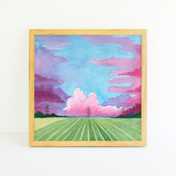 Pastel Cornfields - Watercolor Sky Art Print