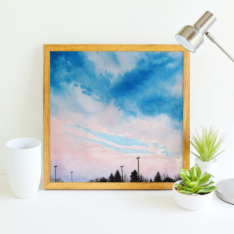 Pink and Blue Sky - Watercolor Art Print