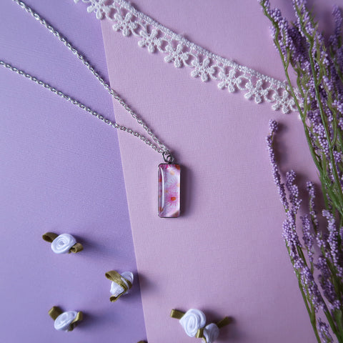 Pink Asters Miniature Watercolor Flower Necklace
