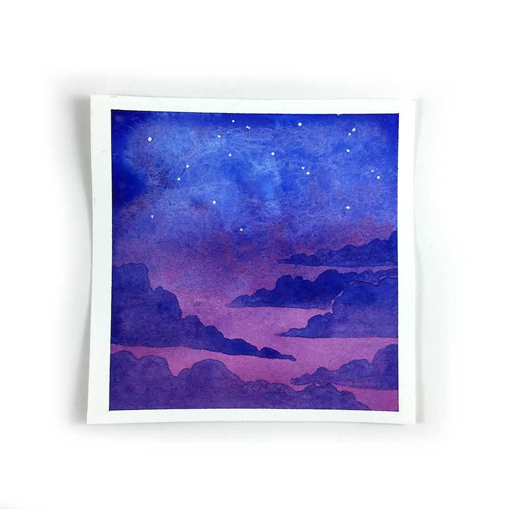 Purple and Blue Twiglight Sky - Original Watercolor Painting Inktober Day 1