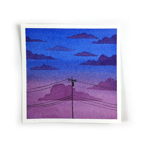 Purple and Blue Sunset Sky - Original Watercolor Painting Inktober Day 11
