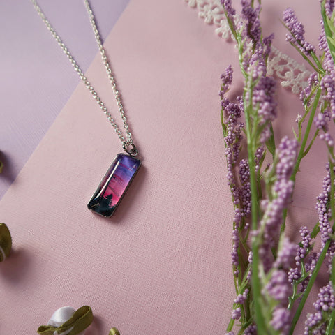 Purple and Pink Sunset Sky Miniature Watercolor Necklace
