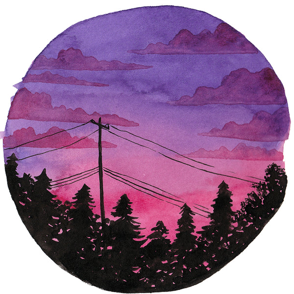 Purple and Pink Sunset Sky - Original Watercolor Painting Inktober Day 2