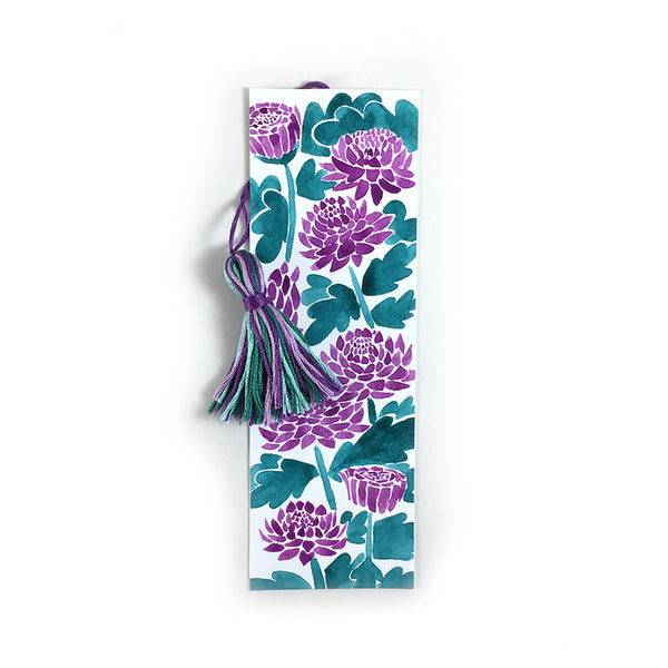 Purple Chrysanthemums - Watercolor Flower Bookmark