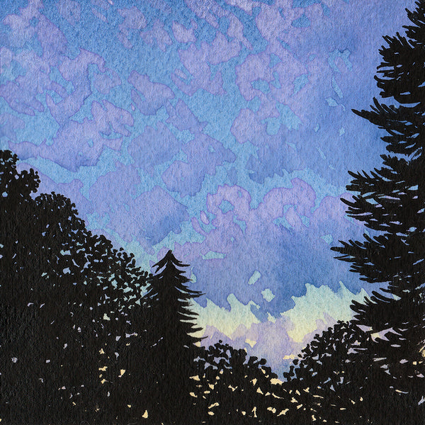 Purple Sunset - Original Watercolor Painting Inktober Day 24