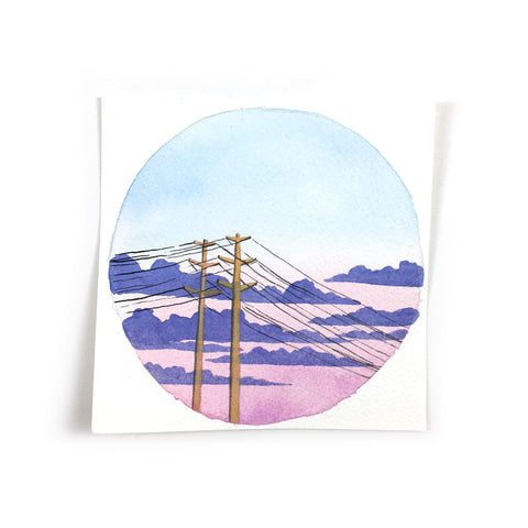 Soft Pink and Blue Sunset - Original Watercolor Painting Inktober Day 25