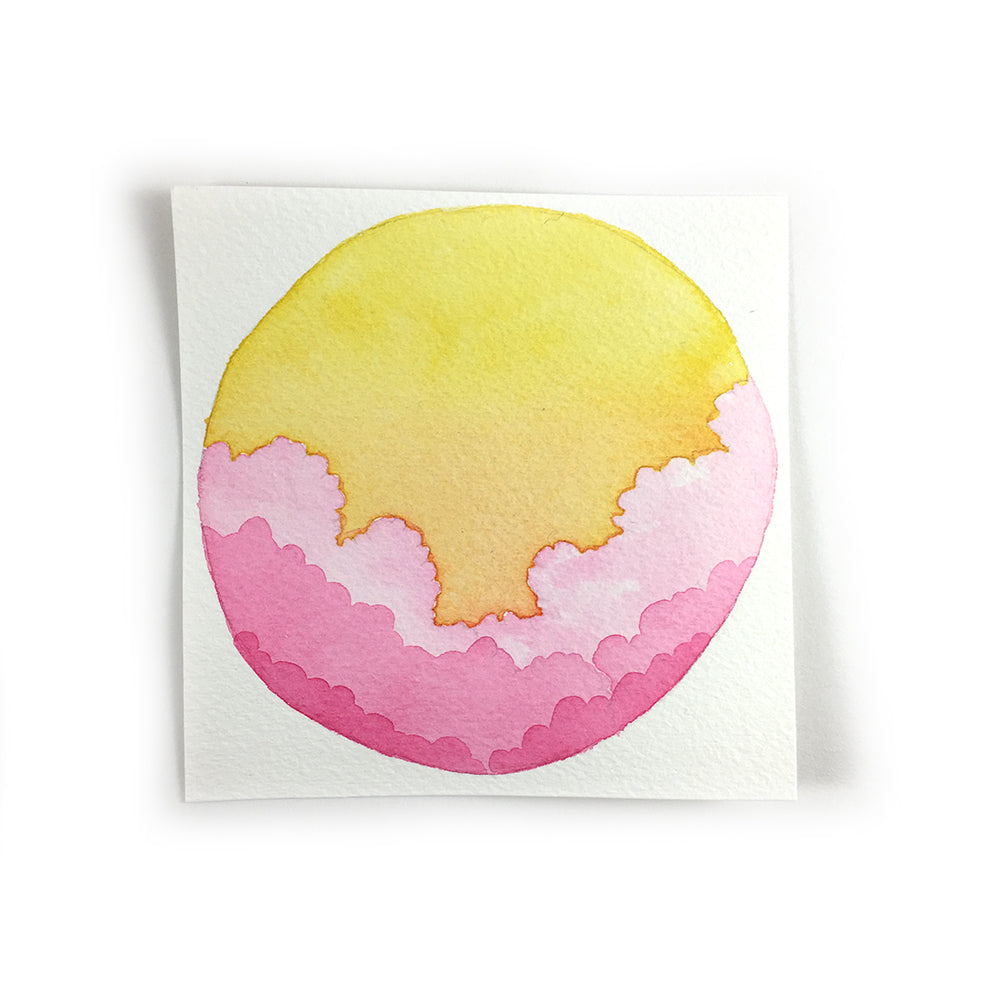Yellow and Pink Sunrise Sky - Original Watercolor Painting Inktober Day 10