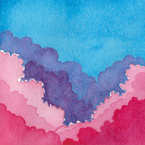 Technicolor Clouds - Original Watercolor Painting Inktober Day 13