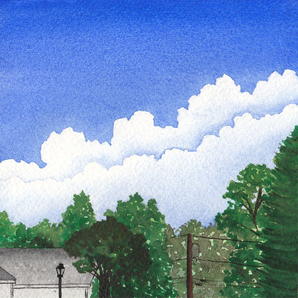 Trees and Cloudy Sky - Original Watercolor Painting Inktober Day 9