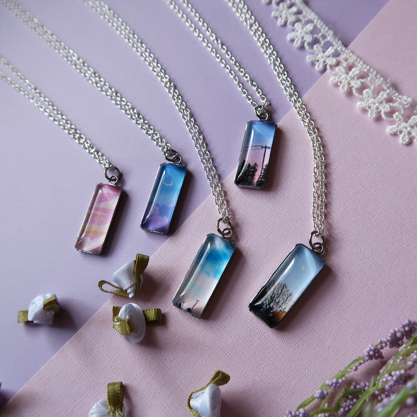 Dreamy Pink Sunset Miniature Watercolor Sky Necklace