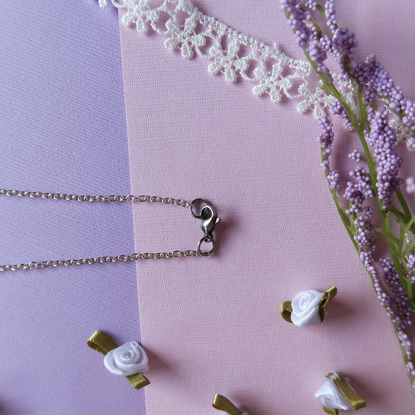 Tiny Pink Cosmos Miniature Watercolor Flower Necklace