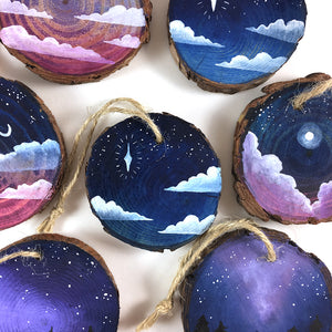Watercolor Sky Wood Slice Tree Ornaments