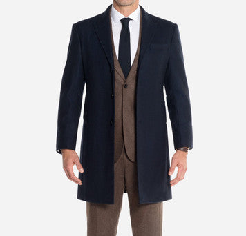Alton Lane Navy Herringbone Overcoat