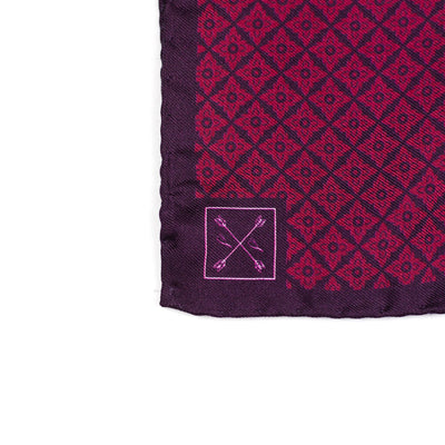 Burgundy and Red Micro-Floral Pocket Square