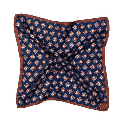 Brown and Blue Floral Pocket Square