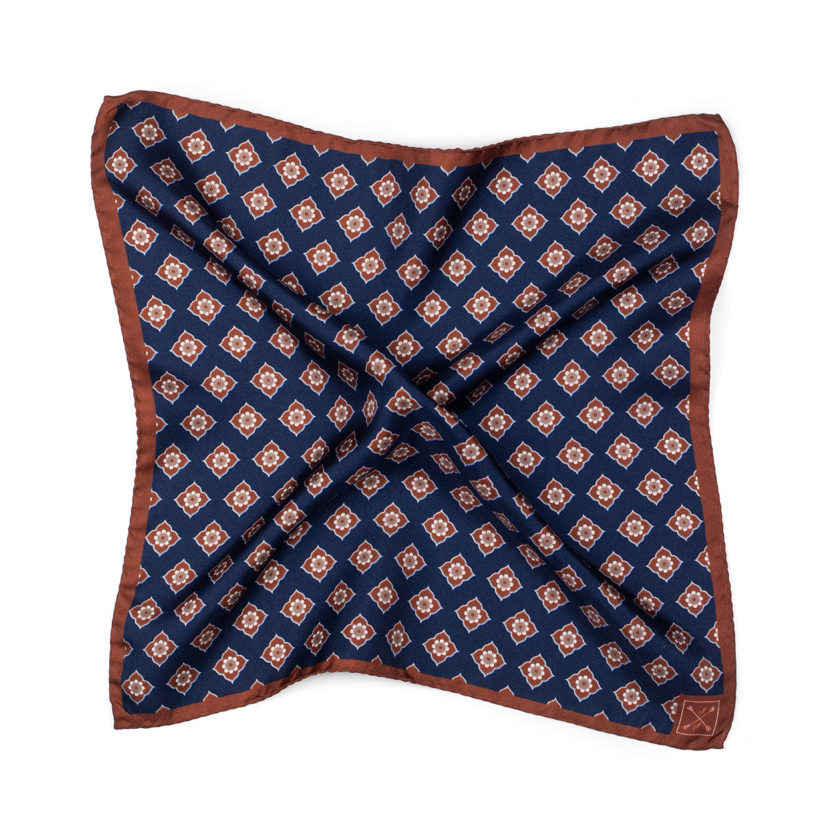 Navy Blue and Brown Floral Silk Pocket Square
