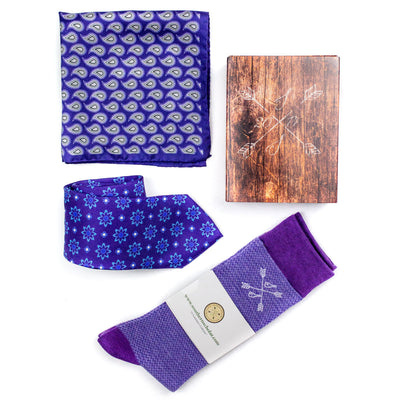 Perfect Pairing | Blue & Purple | Complementary Tie, Square, & Socks