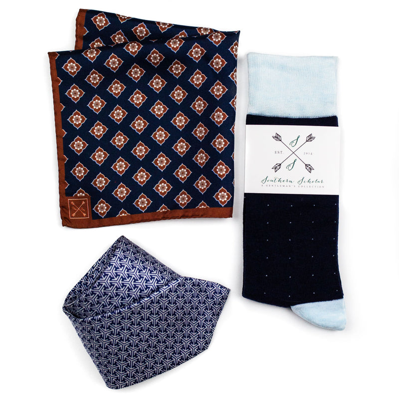 Perfect Pairing | Brown & Blue | Complementary Tie, Square, & Socks | NMP