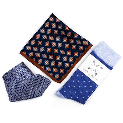 Perfect Pairing | Brown & Blue | Complementary Tie, Square, & Socks