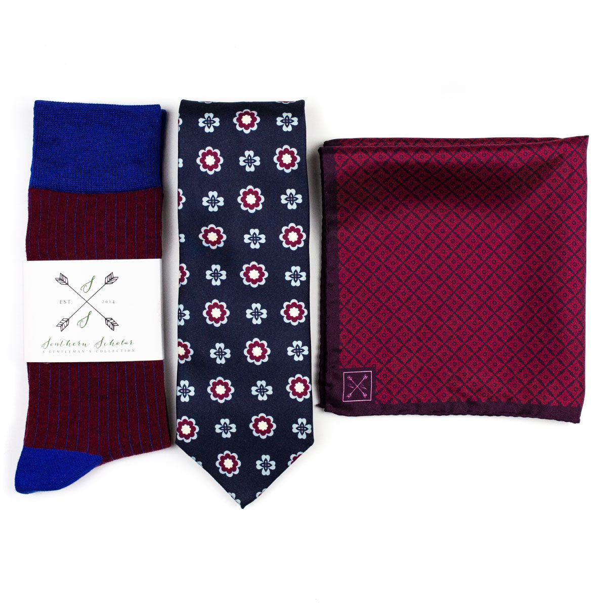 Perfect Pairing | Navy & Burgundy | Complementary Tie, Square, & Socks | NMP