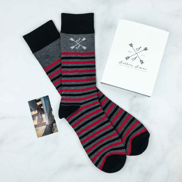 The Casino Royales - Charcoal Grey, Red, & Black Striped Sock