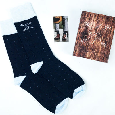 Blue Pindot Patterned Socks