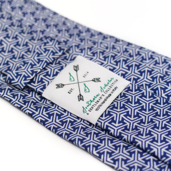 Blue and Silver Italian Silk Tie with Abstract Arrow Pattern
