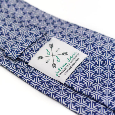 Blue and Silver Italian Silk Tie with Micro Arrow Pattern