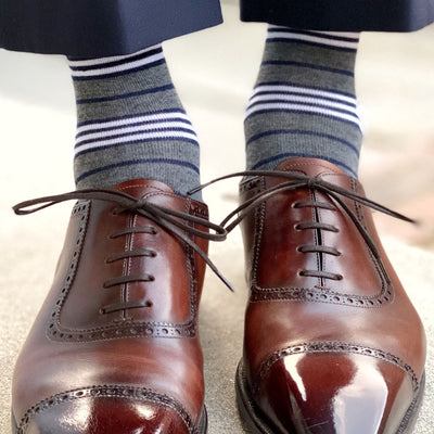 The Manchesters - Charcoal Grey, Navy, White Striped Sock | NMP