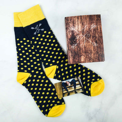 Blue and yellow polka dot socks