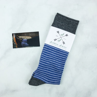 Blue Striped Mens Socks