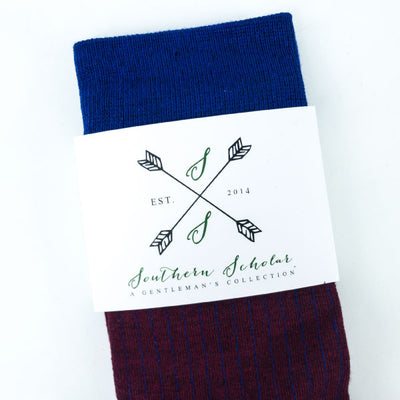 maroon and blue pinstripe sock
