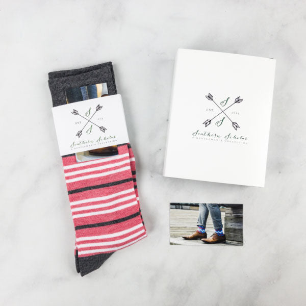 The Classic Corals - Coral, Grey, and White Striped Sock | NMP