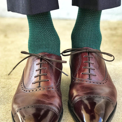 Green Textured Dress Socks