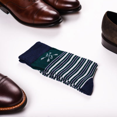 Blue and green striped socks