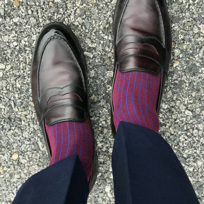 burgundy and blue pinstripe socks