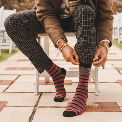 The Casino Royales - Charcoal Grey, Red, & Black Striped Sock | NMP