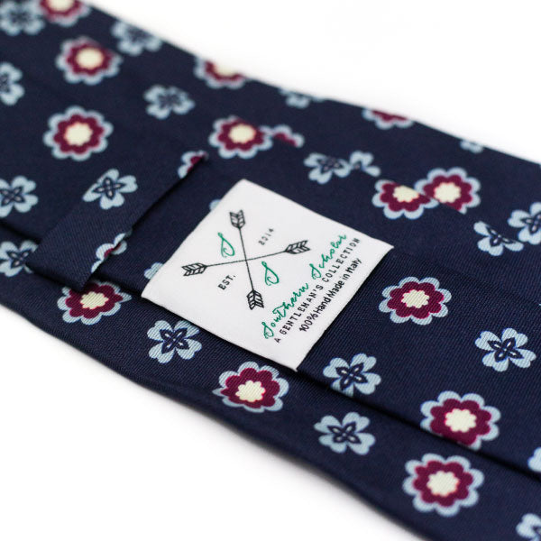 The Luca - Navy, Light Blue, and Burgundy Floral Silk Tie