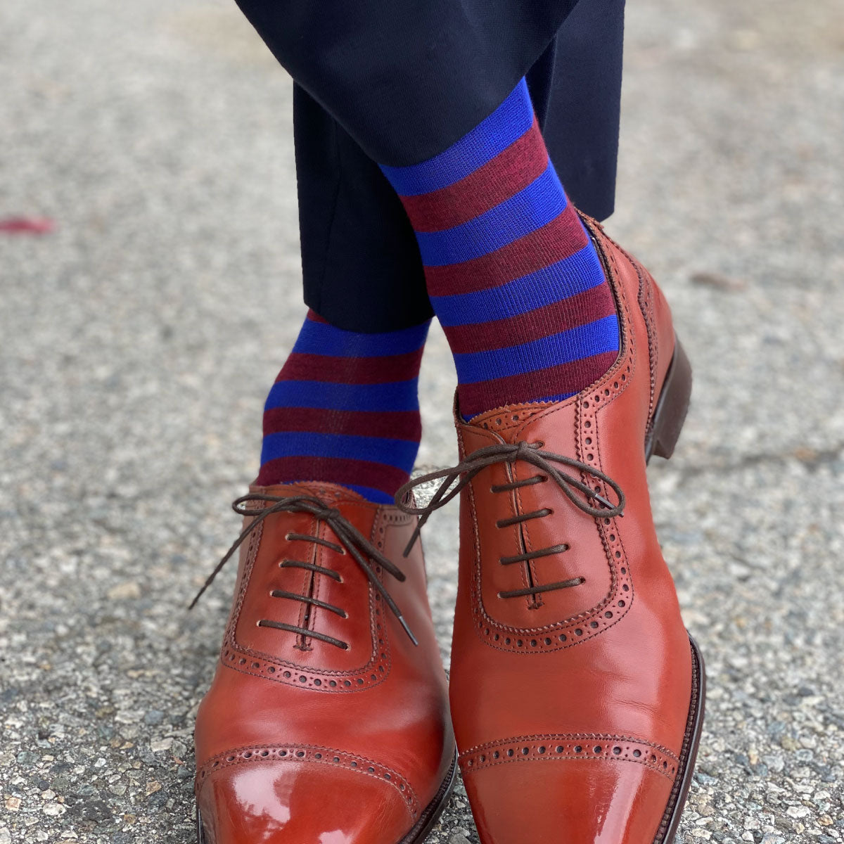 Red and blue striped mens socks