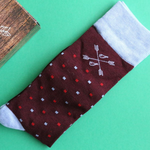 The Shelbys - A Cranberry Sock with Red, Blue Micro-Squares | NMP
