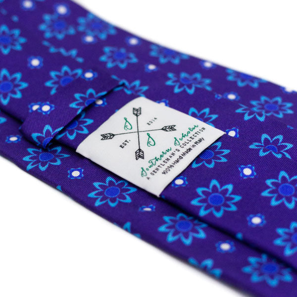 Italian Silk Tie with Purple and Blue Floral Pattern
