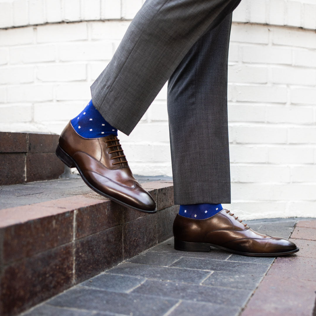 The Hamiltons - A Sapphire Blue sock with Sand and White Micro-Squares | NMP