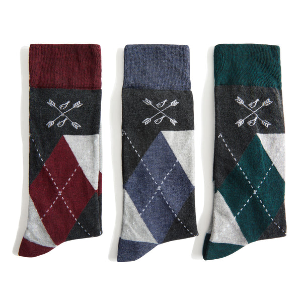 red, blue, and green argyle socks