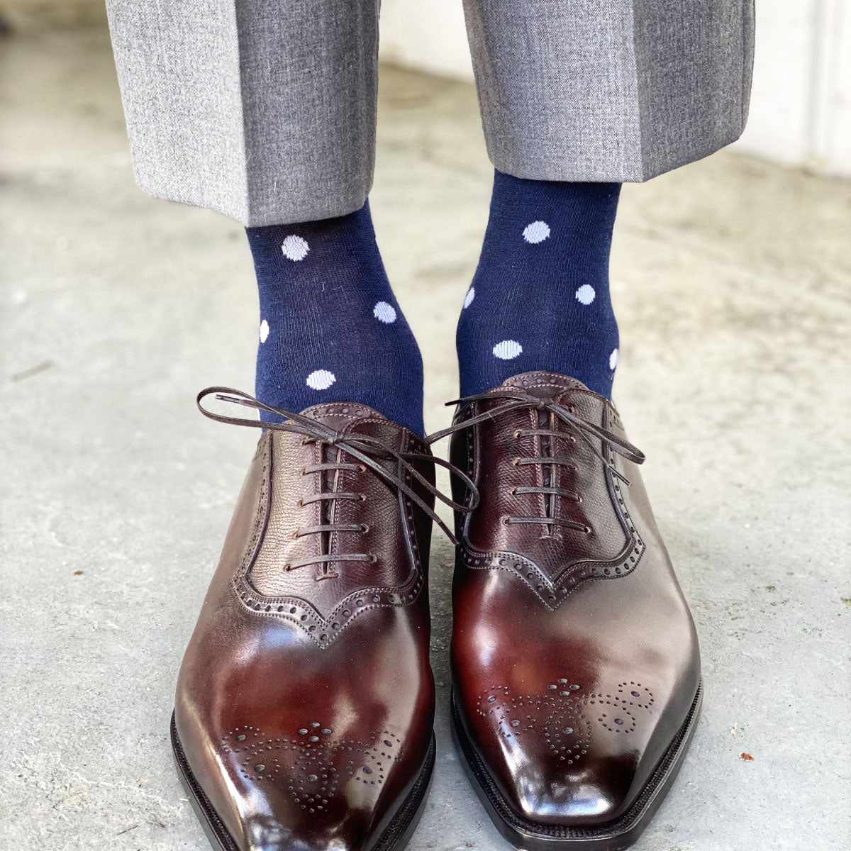 Navy men's dress socks with white polka dots