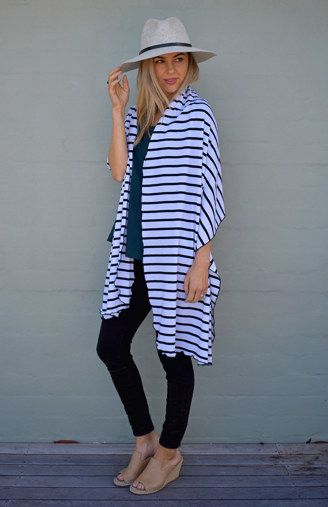 White & Black French Stripe