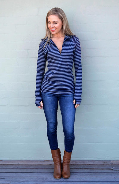 Indigo Blue Grey Stripe