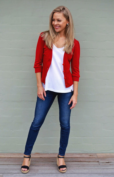 3/4 Sleeve Crop Cardigan