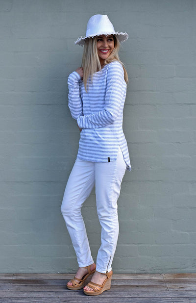 Soft Grey & Crisp White Stripe
