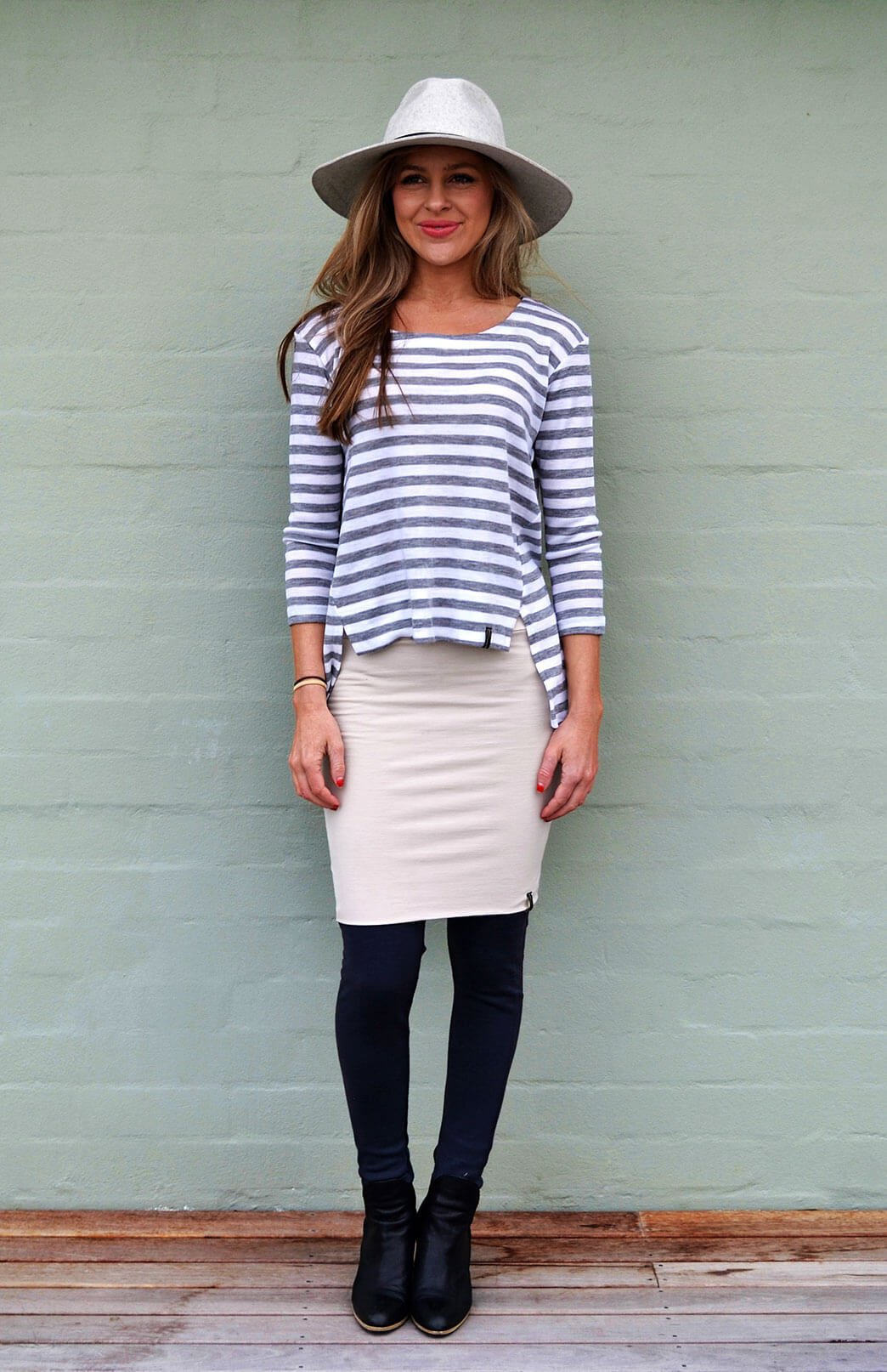 Ivory & Grey Stripe