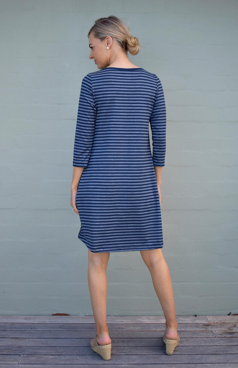 Indigo Blue & Grey Stripe